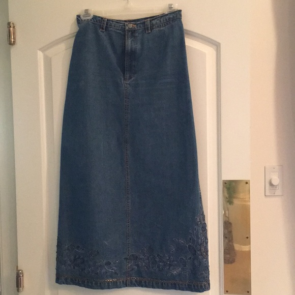 Chico's Dresses & Skirts - Chico's beaded denim maxi skirt